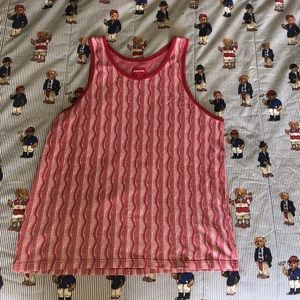Supreme red and white woven tank top